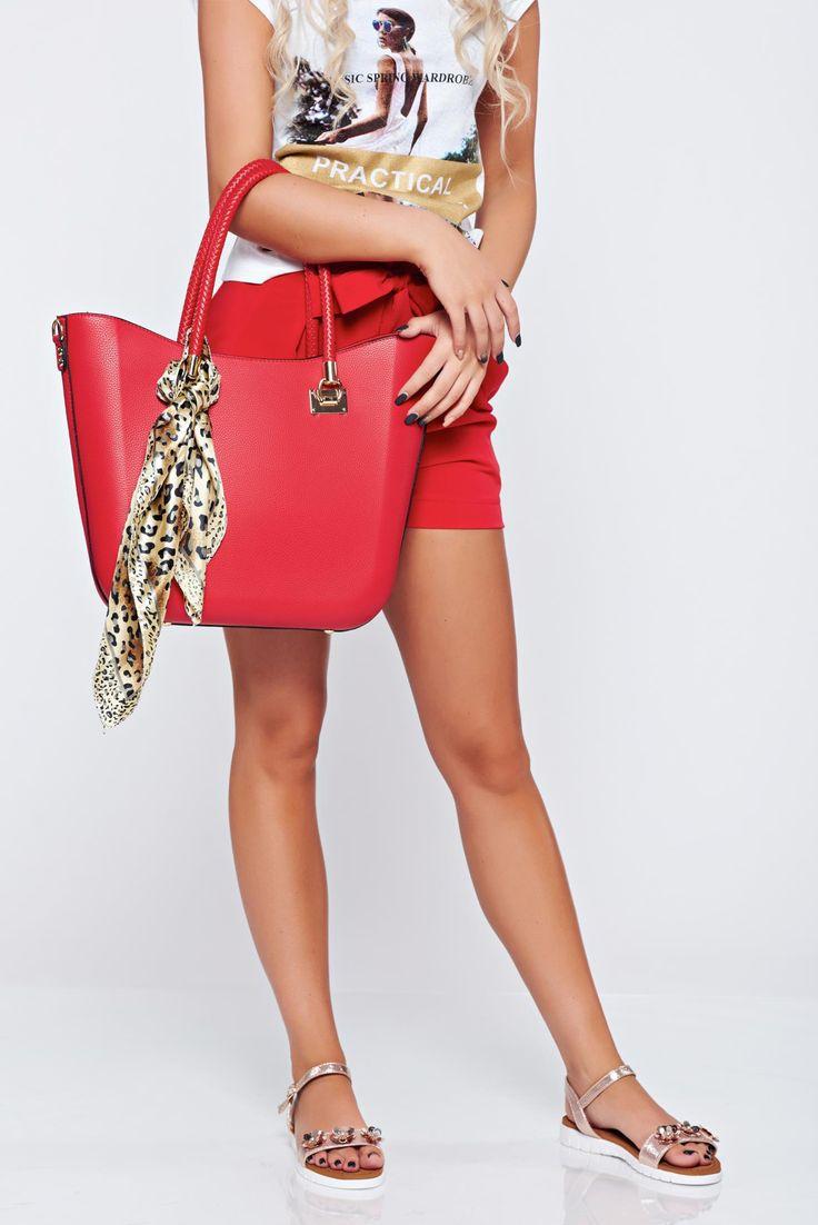 Comanda online, Geanta dama office rosie accesorizata cu esarfa. Articole masurate, calitate garantata!