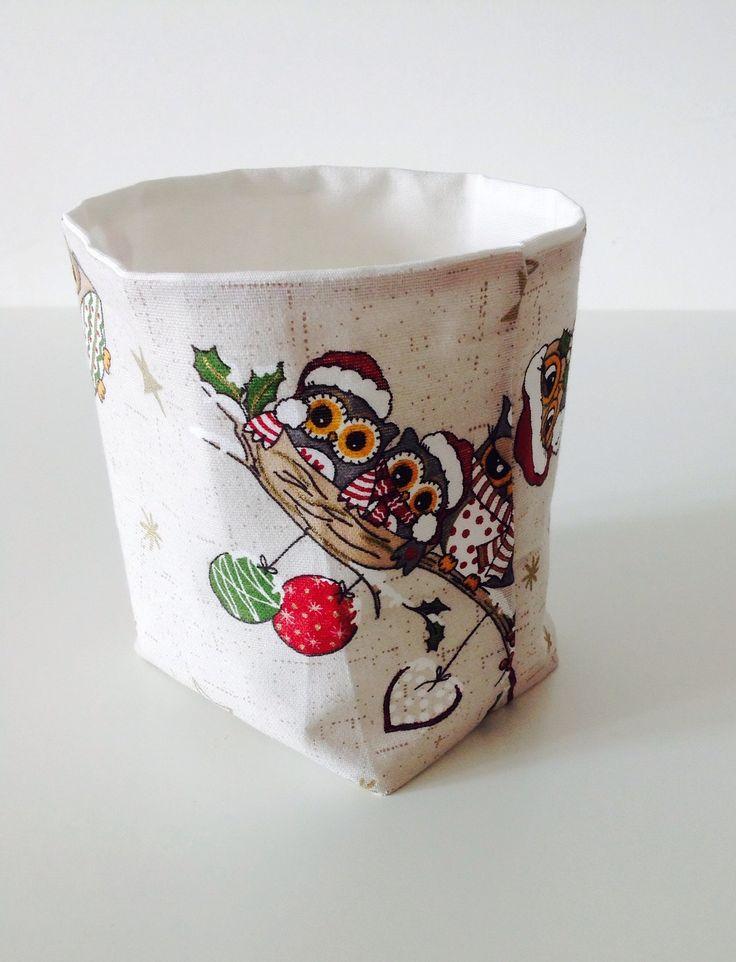 Cestino+porta+oggetti+in+cotone+Stampa+Gufo+di+Natale.+:+Accessori+casa+di+lecosedisimo