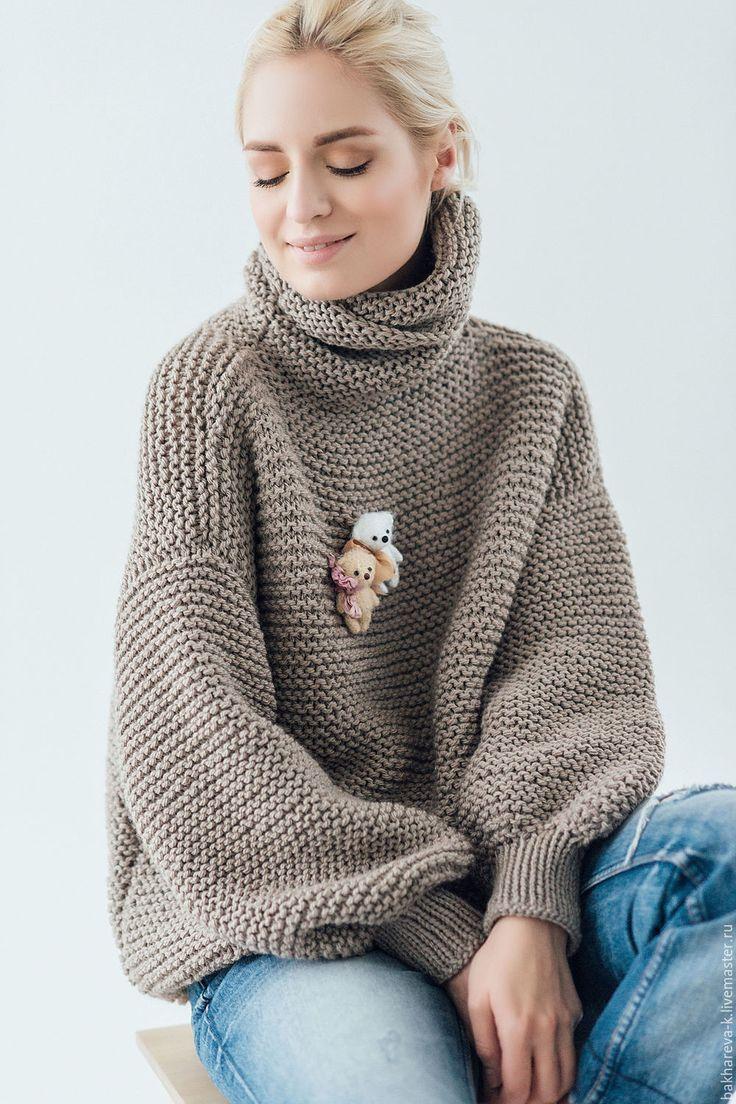 объемный свитер с медведем - коричневый, серый цвет, серый, красный, вязаный свитер