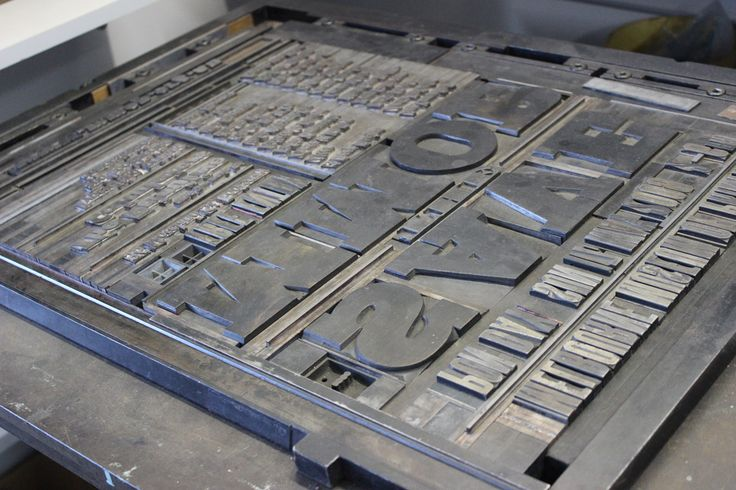All 'sorts' of metal letters and glyphs set into a forme ready for the letterpress.