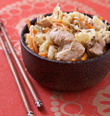 Poulet sauté au chou chinois, carottes et gingembre - les meilleures recettes de cuisine d'Ôdélices