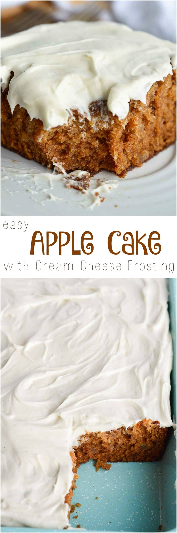 This Easy Apple Cake Recipe is the perfect dessert for feeding a crowd. This apple sheet cake is made with apple pie filling and topped with a luscious vanilla cream cheese frosting. Perfect for holidays, parties, potlucks or brunch!