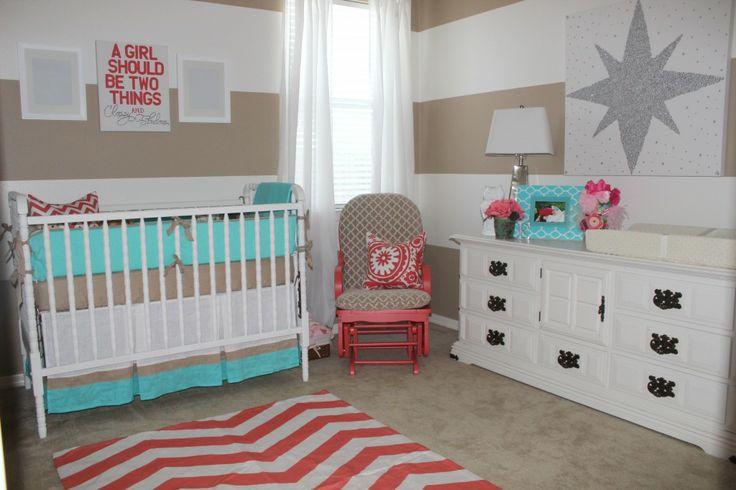 Red + Aqua = the perfect combo for a little girl's nursery. #aqua #nursery