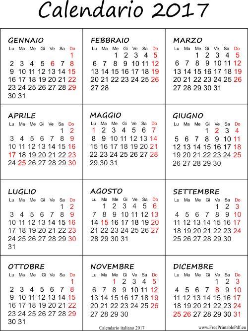 Calendario annuale, mensile e settimanale con pdf da stampare