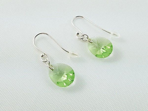 Girl's Jewelry, Earrings for Girl, Sterling Silver Earrings, Crystal Earrings, Christmas Gift for Girl, Gift Ready to Ship, Green Earrings by modotikon on Etsy