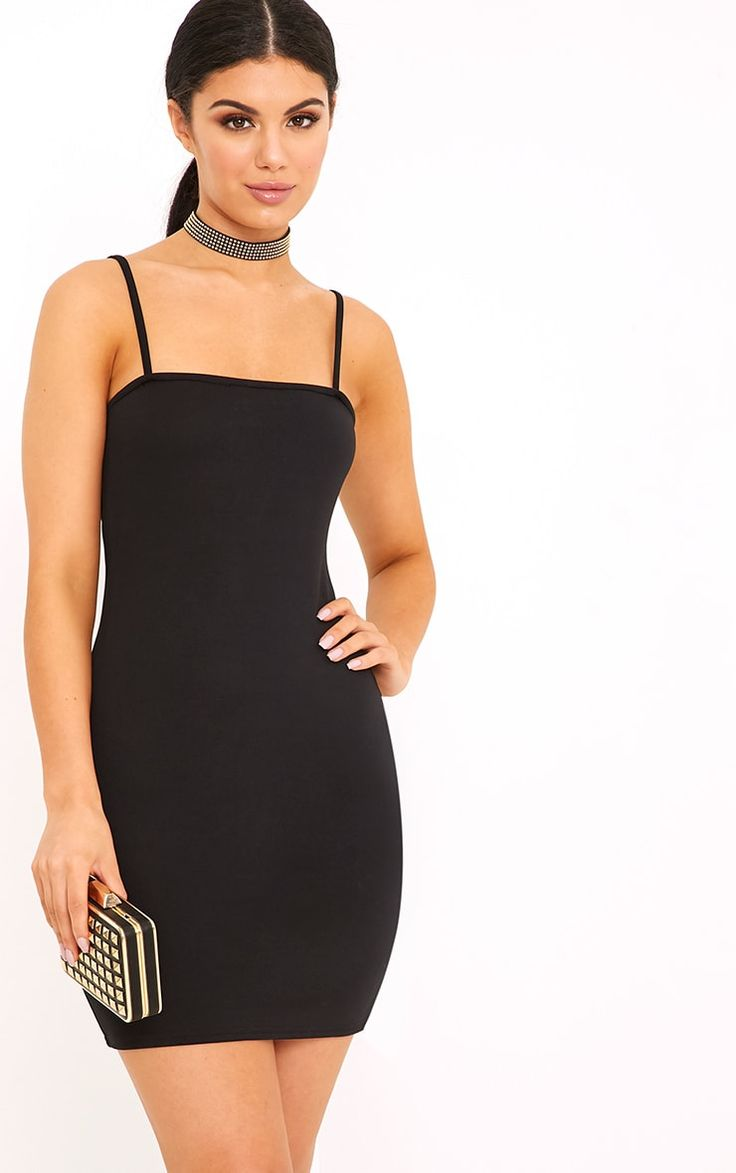 Petite Black Satin Strappy Straight Neck Bodycon Dress Pretty Little Thing Clearance How Much Excellent zcoR0TR5YR
