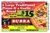 BUBBA PIZZA PASTA & MORE