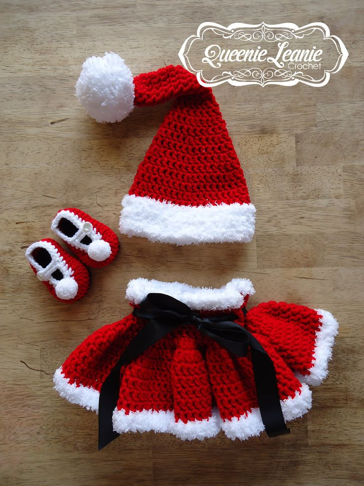Lil' Mrs. Claus Set Santa Christmas Baby by QueenieLeanieCrochet