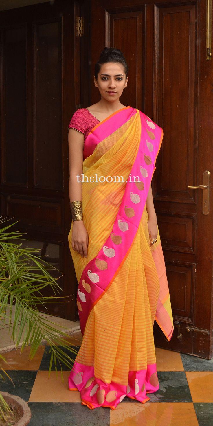 Handwoven Yellow Kora Cotton Saree