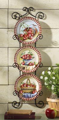 hanging wall kitchen decor | Apple Decor Decorative Plates Wall Art