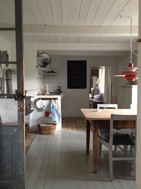 Swedish kitchen, white ceiling, low orange pendant lamp