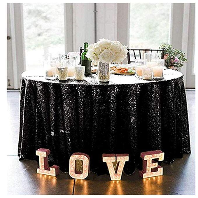 Queendream Good News 132 Round Luxury Shiny Black Sequin
