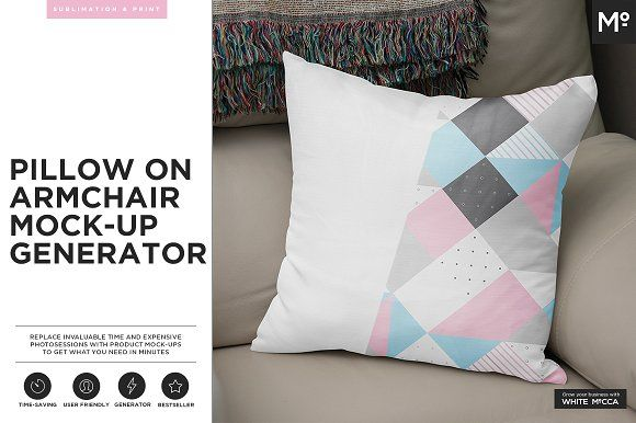 Pillow on Armchair Mock-up Generator by Mocca2Go/mesmeriseme on @creativemarket
