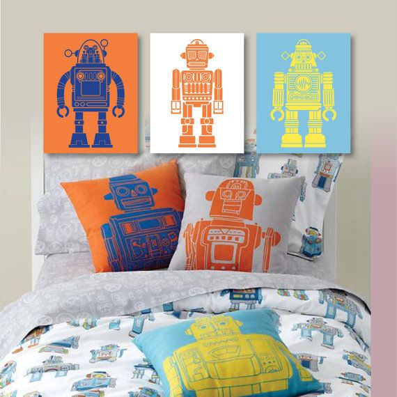 Retro Robot SciFi Print Trio  Home Bathroom by RhondavousDesigns2, $20.00