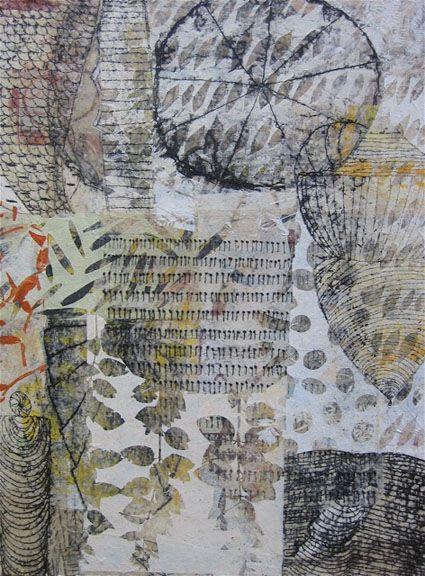 """Eva Isaksen A Little Snow, 2010 collage on canvas 40"""" x 30"""""""
