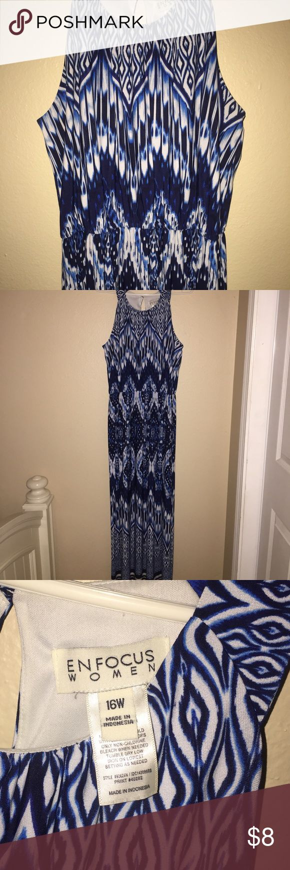 Navy Blue, Blue and White Long Dress navy blue and white dress, has an elastic waistband. if you would like to see it on, please leave me a comment down below! Enfocus Women Dresses