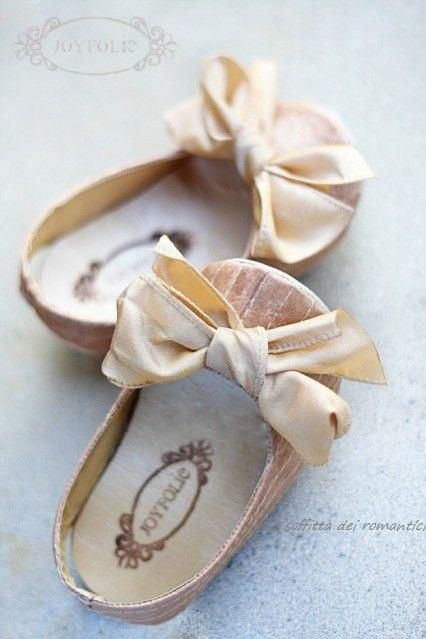 Joyfolie: Little blush pink and cream satin baby girl shoes