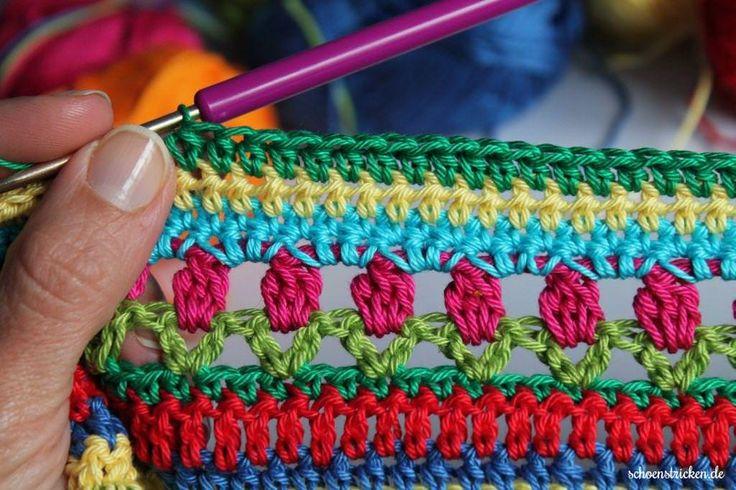 Hier kommt Teil 4 des Regenbogen Babydecke Crochet Along! Diesmal haben wir einen gaaaanz besonderen Stich, nämlich den Tulpenstich. Noch nie gehört?
