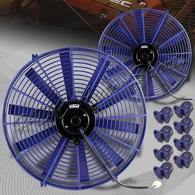 "2 X 16"" Blue Electric Slim Push Pull Engine Bay Cooling Radiator Fan Universal 5"