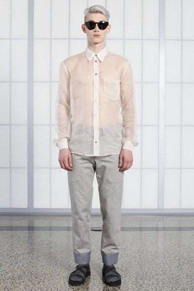 s/s 13/14 mens key looks - M07. print shirt in soap, cropped workwear trouser in canvas, jetson tinted eyewear.
