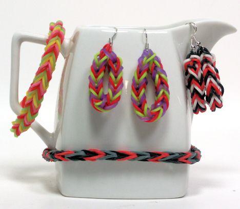 Rainbow loom earrings....cute!