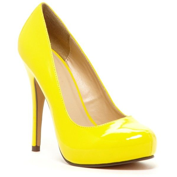Michael Antonio Love Me Patent Pump (23 CAD) ❤ liked on Polyvore featuring shoes, pumps, yellow, yellow high heel shoes, almond toe platform pumps, almond toe pumps, high heel shoes and yellow shoes