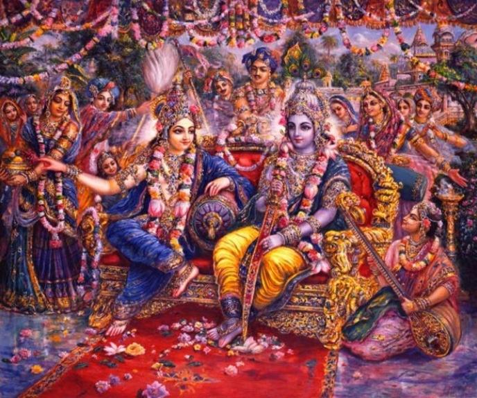 Krsna & Balaram in Dvaraka. Painting by Pushkar das.