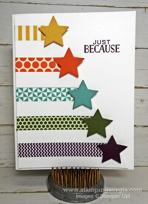 Quick and Easy Card With In Color Washi Tape!  Details for 3 different cards on my blog!  www.stampingeorgia.com