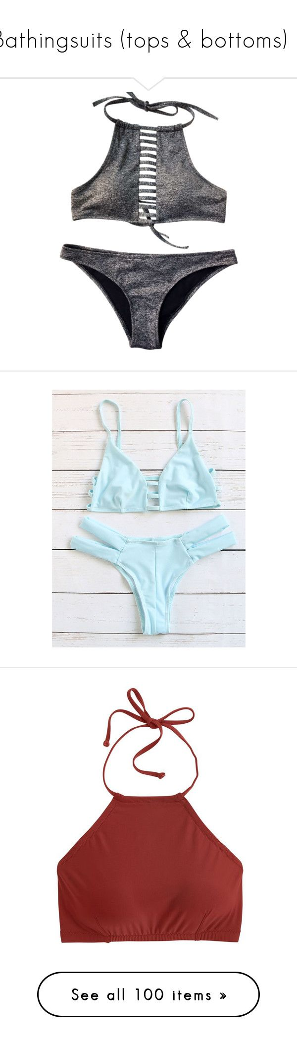 """Bathingsuits (tops & bottoms) 😎"" by one-of-those-nights ❤ liked on Polyvore featuring swimwear, bikinis, blue bikini, sexy bikini, triangle bikini swimwear, cut-out bikinis, cutout swimwear, bikini tops, tops and crop tops"