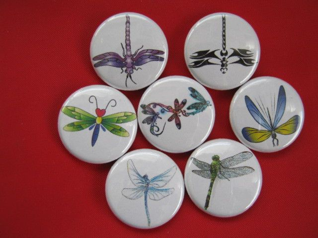 DRAGONFLIES Set of 7 SELECT SIZE  Pinback Buttons Badges DRAGONFLY #wtnabrand