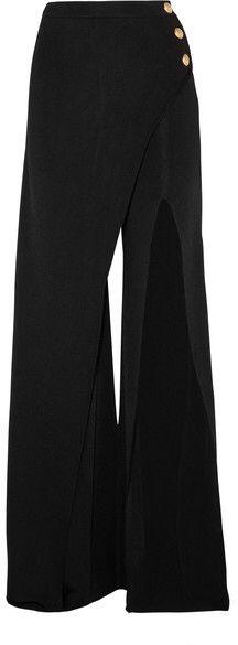 Balmain - Embellished Stretch-knit Flared Pants - Black