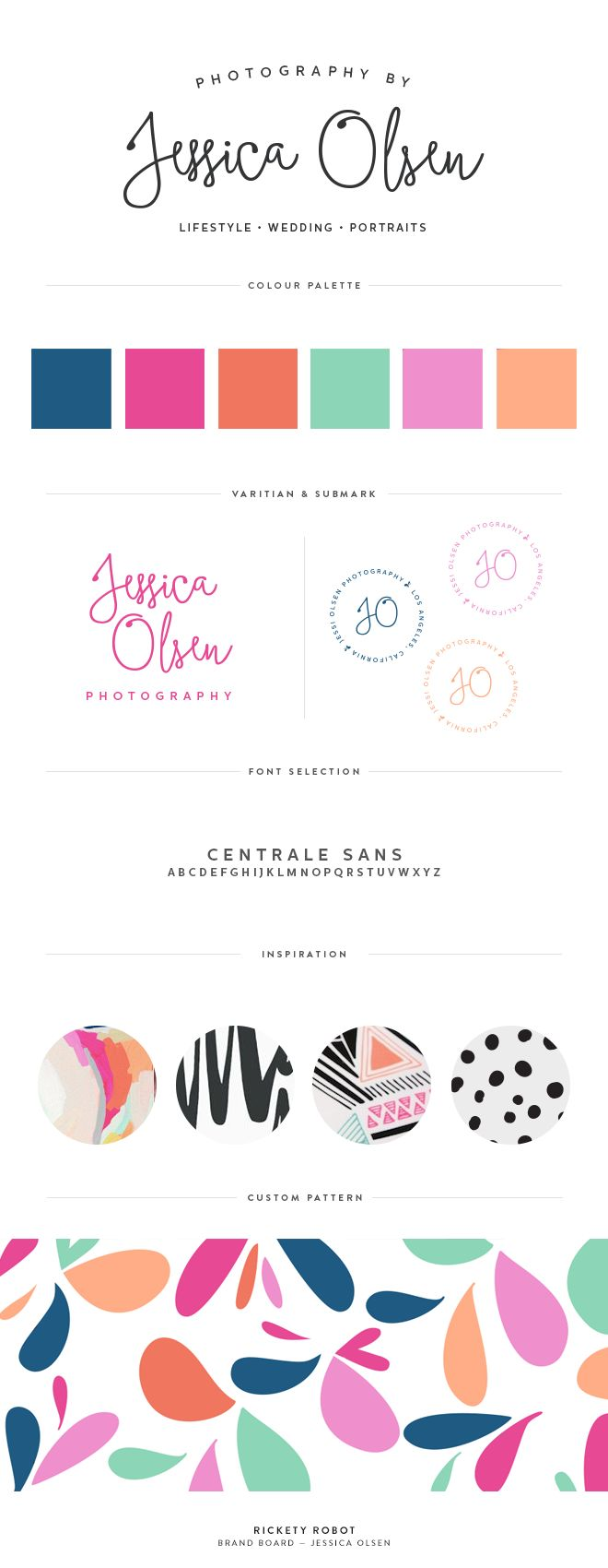Colorful brand board for Jessica Olsen || Rickey Robot