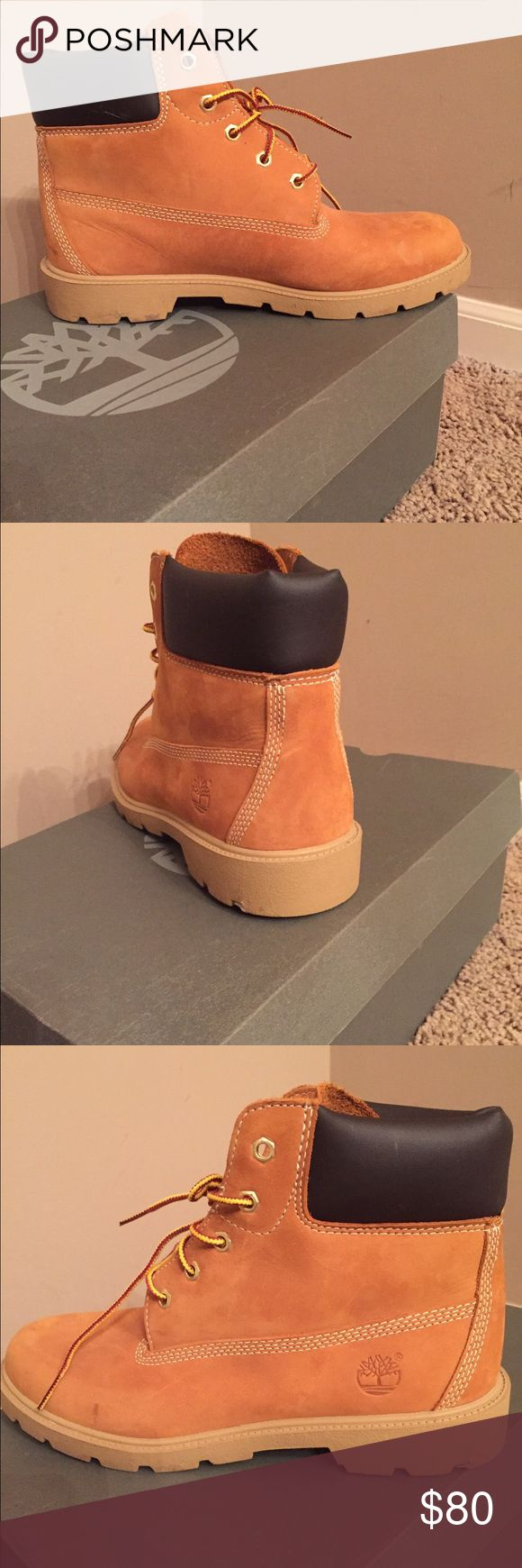Big boys Timberland boots (wheat color) In EXCELLENT condition... only worn a few times. Timberland Shoes Rain & Snow Boots