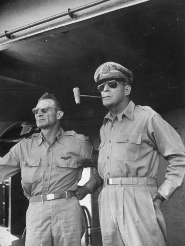 General Douglas Macarthur Smoking Corncob Pipe During Philippines Action, WWII Premium Photographic Print at Art.com