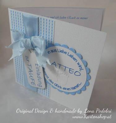 Baptism invitation blue white
