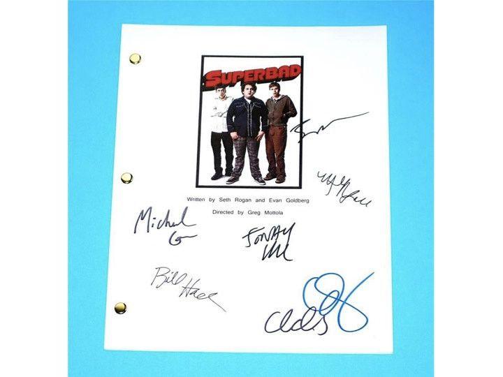 Superbad Movie Signed Script Screenplay Autographed: Seth Rogan, Jonah Hill, Michael Cera, Bill Hader, Emma Stone, Martha Macisaac