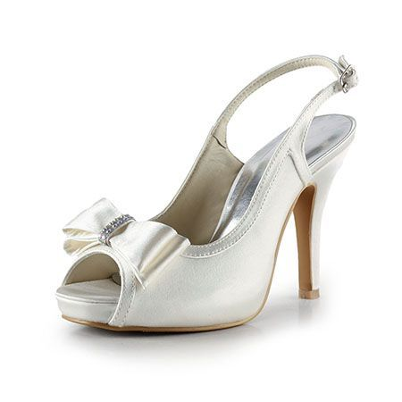 Dyeable Chic 4″ Bow & Peep-toe Sandals – White Casual shoes (11 colors)