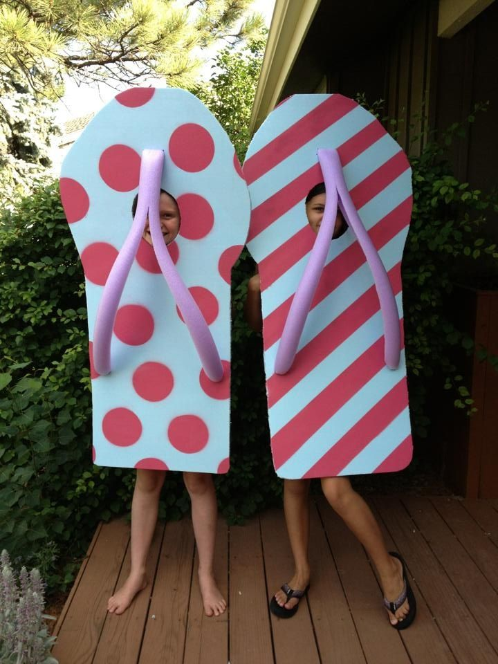 Made these flip flop costumes for 4th of July beach themed parade- foam insulation and pool noodle-easy,