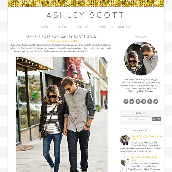 Ashley Scott Blogger Template by Studio Mommy on Creative Market