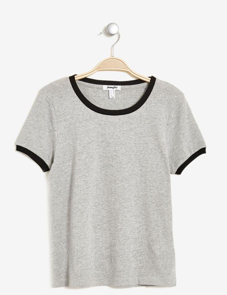 tee-shirt côtelé gris chiné et noir - http://www.jennyfer