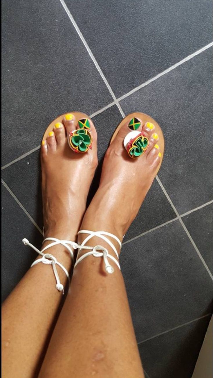 My Jamaican Flag nail art and Bridget Sandals.