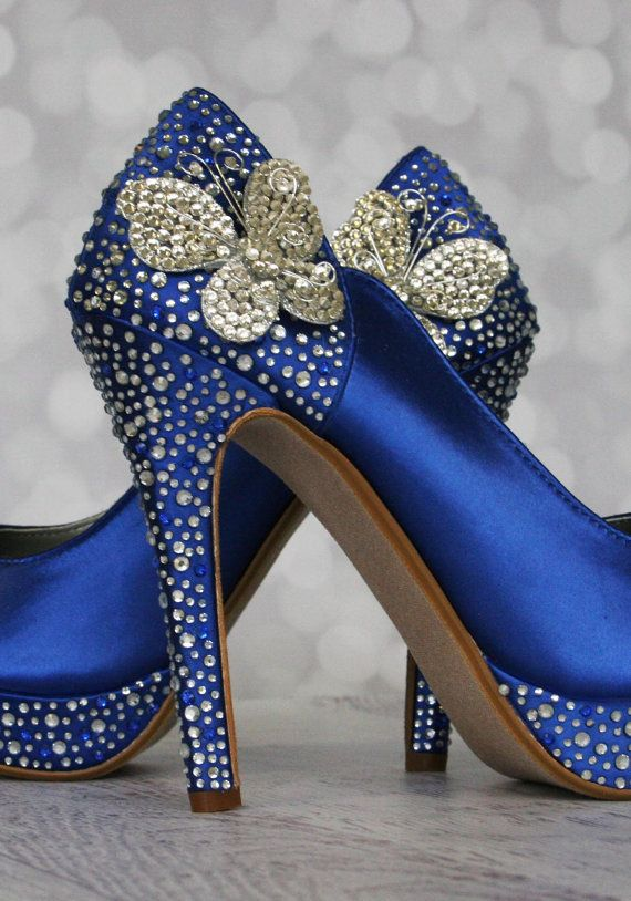 Butterfly Wedding Shoes Royal Blue by EllieWrenWeddingShoe