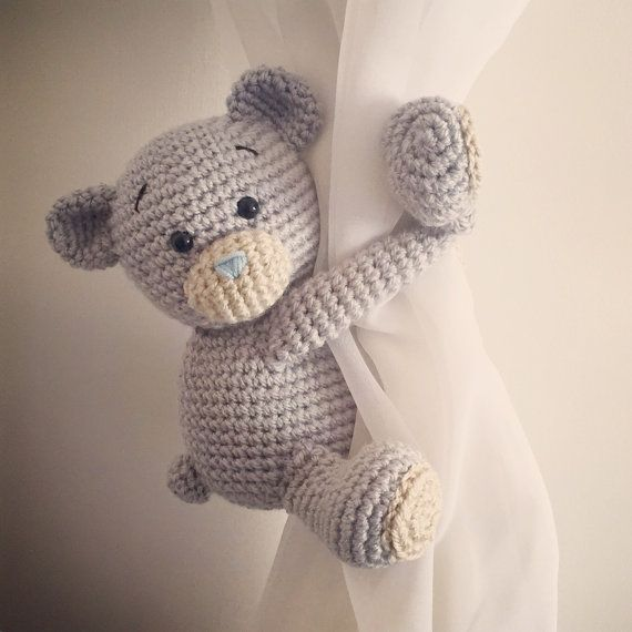 Teddy bear curtain tie back, nursery, crochet, handmade