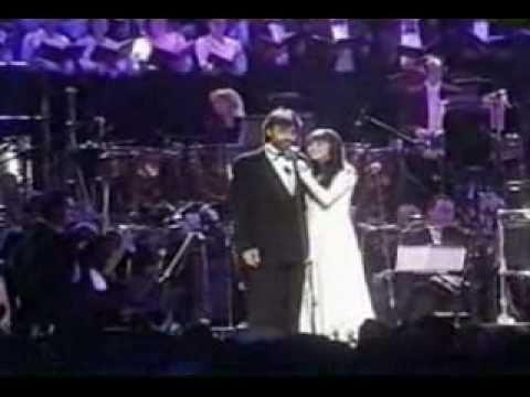 "Andrea Bocelli and Sarah Brightman sing ""Time to Say Goodbye"".  So moving!"