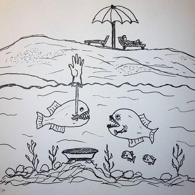 Doodleaday November - River #doodleaday #doodleadaynov #illustration #doodle #river #fish #drawing #sketch #notebook #beach #yamyam #скетч #дудлинг #рисунок #набросок #картинка #иллюстрация #рыба #пляж #нямням