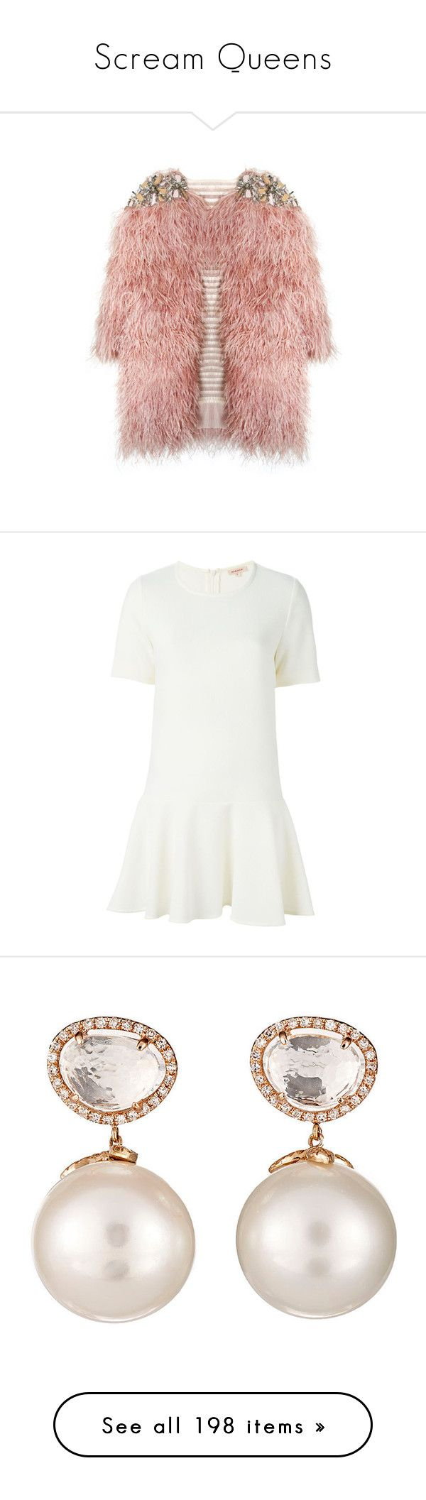 """""""Scream Queens"""" by shanelala ❤ liked on Polyvore featuring jackets, outerwear, coats, tops, dresses, vestidos, daisy cleveland, white dress, mini dress and white mini dress"""