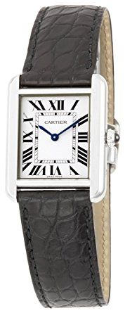 "Cartier Women's W5200005 ""Tank Solo"" Stainless Steel Dress Watch with Leather Band - Fixed stainless steel bezel. Silver dial with blue hands and black Roman numeral hour markers. Minute markers around the inner ring. Luminescent hands and dial markers. Battery operated Swiss quartz movement. Steel grained set with a spinal cabochon crown. Solid case back. Case dia. 24 mm x 23 mm. Case thickness: 6 mm. Water resistant 30 meters / 100 feet.(affiliate link)"