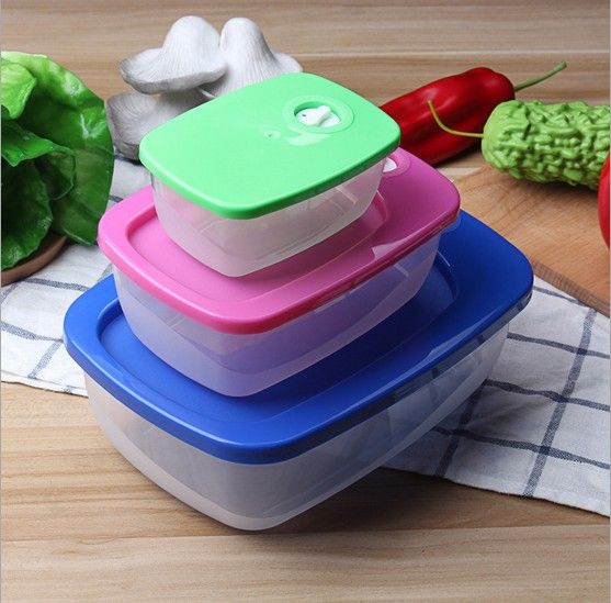 3pcs/lot Fashion High Capacity Dinnerware Sets PP Bento Lunch Box Food Container Handle Singel Layer Lunch Box TableWare KX 062