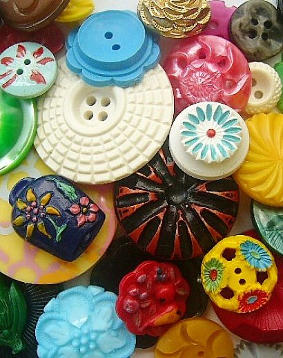 Wonderful assortment of vintage colourful buttons.