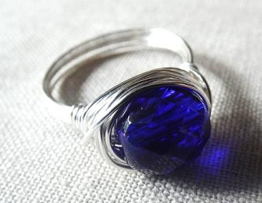 Blue glass ring  wire wrap ring  Czech bead ring by PepperandPomme